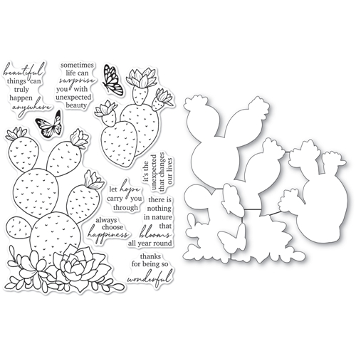 Memory Box FLOWERING CACTUS Clear Stamp and Die Set cl5271d Preview Image
