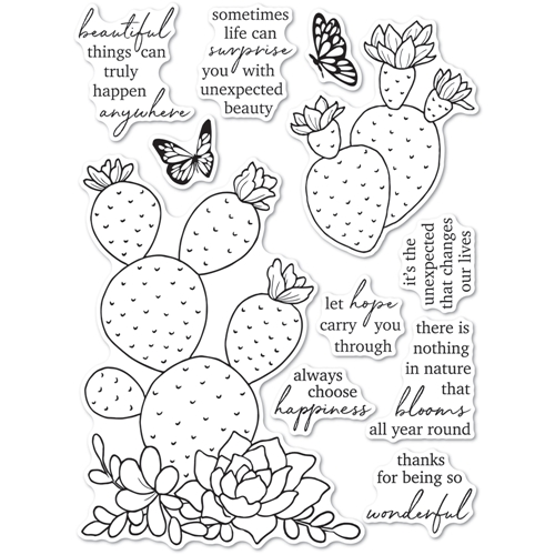Memory Box Clear Stamps FLOWERING CACTUS cl5271 Preview Image