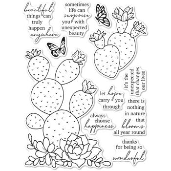 Memory Box Clear Stamps FLOWERING CACTUS cl5271