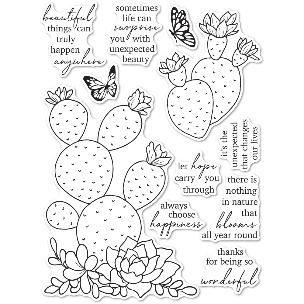 Memory Box Clear Stamps FLOWERING CACTUS cl5271 zoom image