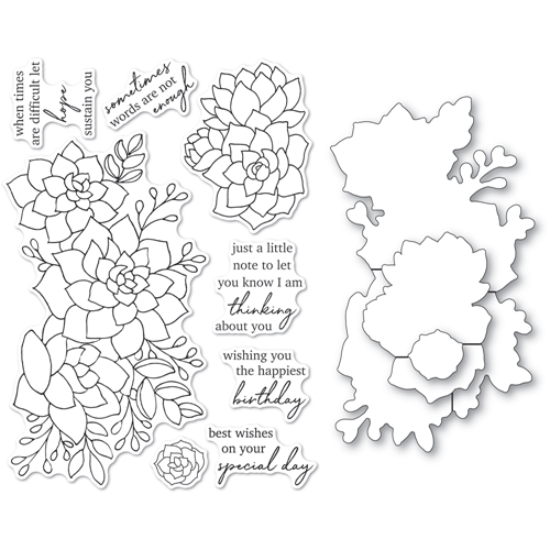 Memory Box ELEGANT SUCCULENT SENTIMENTS Clear Stamp and Die Set cl5270d Preview Image