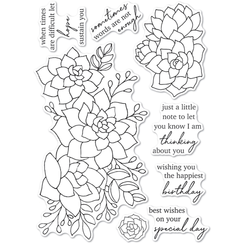 Memory Box Clear Stamps ELEGANT SUCCULENT SENTIMENTS cl5270 Preview Image