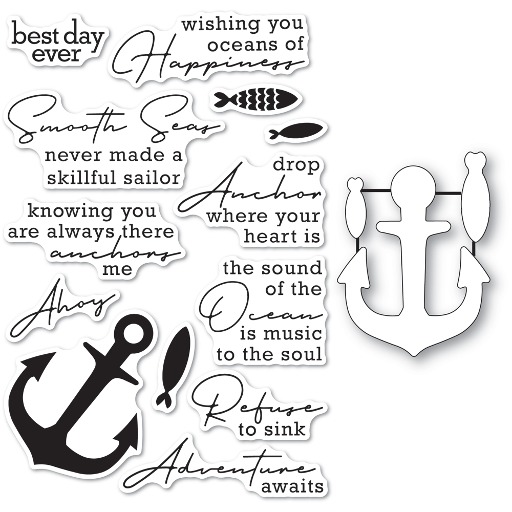 Memory Box YOU ANCHOR ME Clear Stamp and Die Set cl5269d zoom image