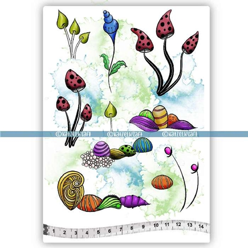 Katzelkraft WHIMSY FLEURS Red Rubber Unmounted Stamp KTZ192 Preview Image