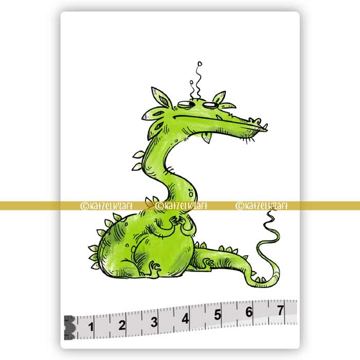 Katzelkraft DRAGON Red Rubber Unmounted Stamp SOLO101 zoom image