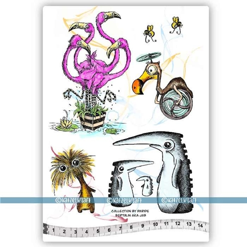 Katzelkraft FLAMINGOS AND FRIENDS Red Rubber Unmounted Stamp KTZ224 Preview Image