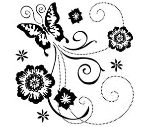 Inkadinkado Mini Clear Stamps BUTTERFLY SCROLL 98874