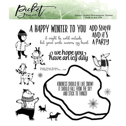 Picket Fence Studios A HAPPY WINTER TO YOU Clear Stamps c121 Preview Image