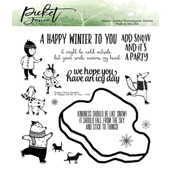 Picket Fence Studios A HAPPY WINTER TO YOU Clear Stamps c121