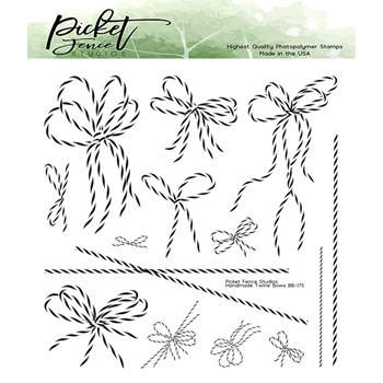 Picket Fence Studios HANDMADE TWINE BOWS Clear Stamps bb175