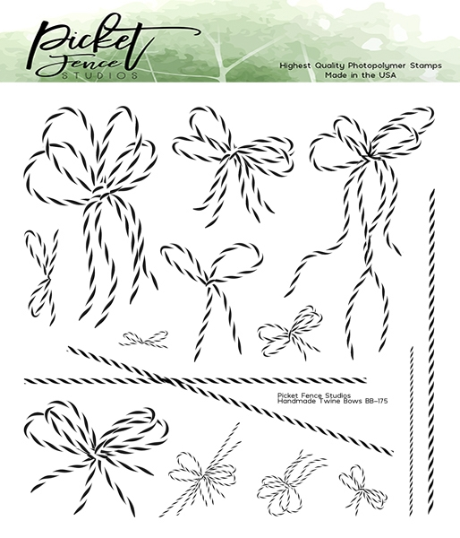 Picket Fence Studios HANDMADE TWINE BOWS Clear Stamps bb175 zoom image