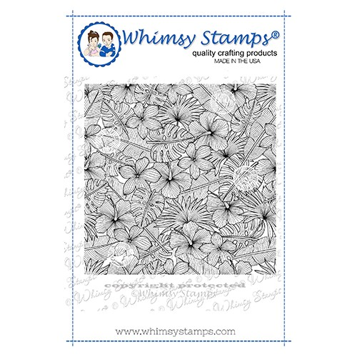 Whimsy Stamps TROPICAL FLORAL Background Cling Stamp DDB0061 Preview Image
