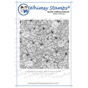 Whimsy Stamps TROPICAL FLORAL Background Cling Stamp DDB0061