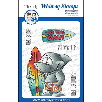 Whimsy Stamps SURF SHARK Clear Stamps DP1071