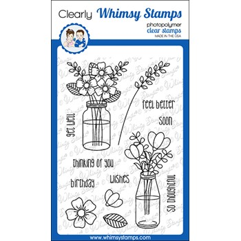 Whimsy Stamps FLOWER WISHES Clear Stamps CWSD382