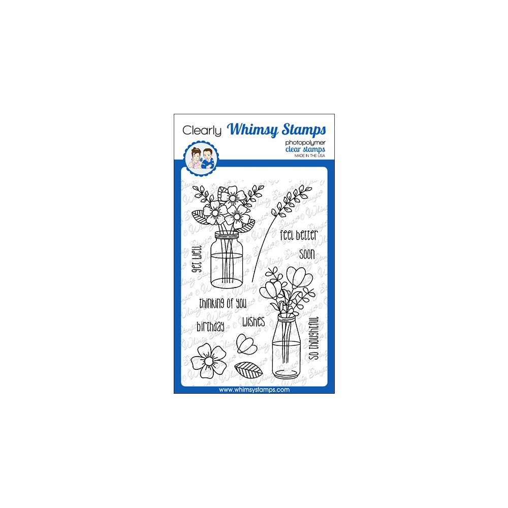 Whimsy Stamps FLOWER WISHES Clear Stamps CWSD382 zoom image
