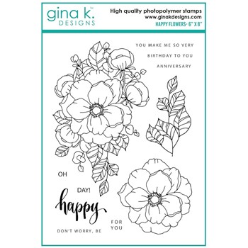 Gina K Designs HAPPY FLOWERS Clear Stamps as08