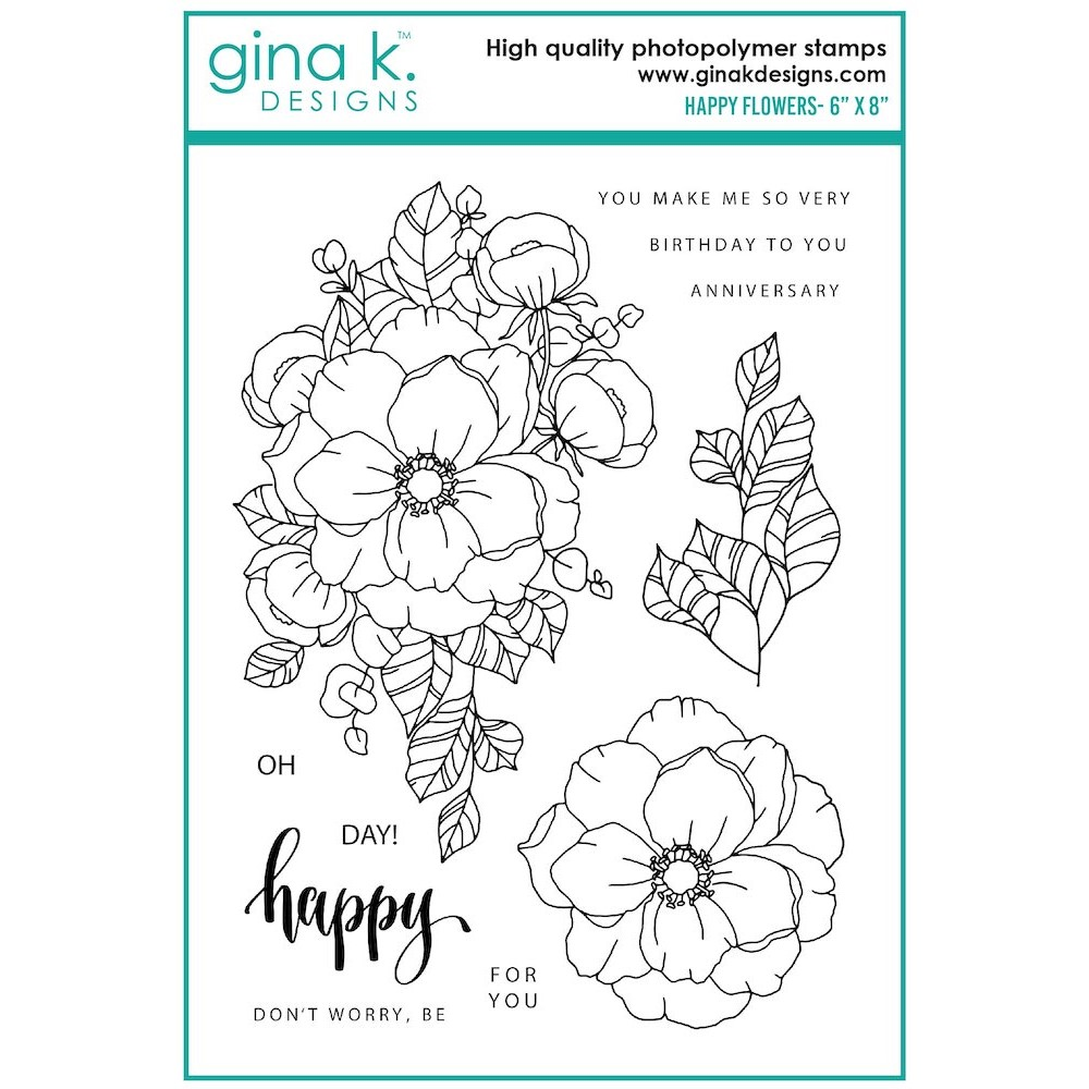 Gina K Designs HAPPY FLOWERS Clear Stamps as08 zoom image