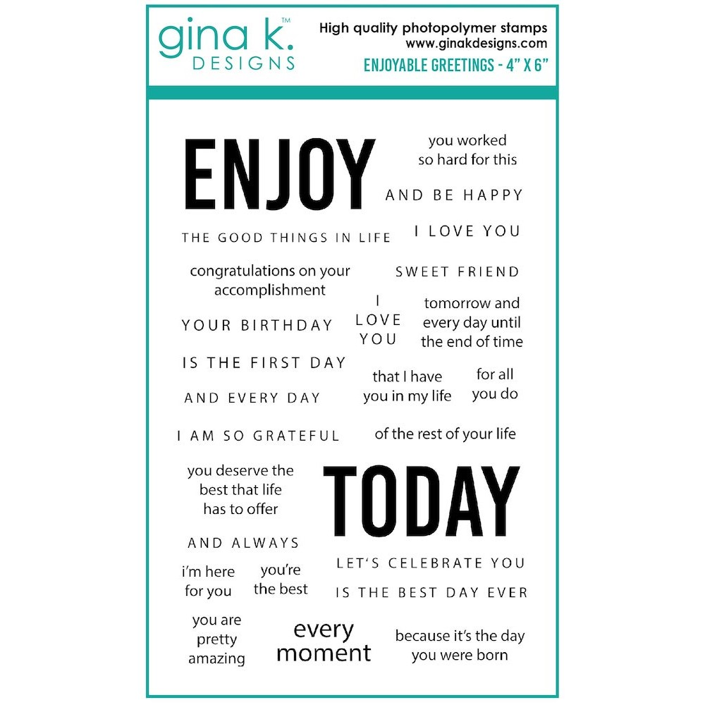 Gina K Designs ENJOYABLE GREETINGS Clear Stamps gkd108 zoom image