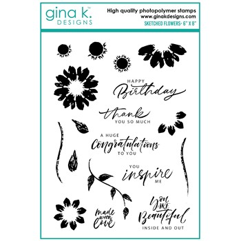 Gina K Designs SKETCHED FLOWERS Clear Stamps ak19