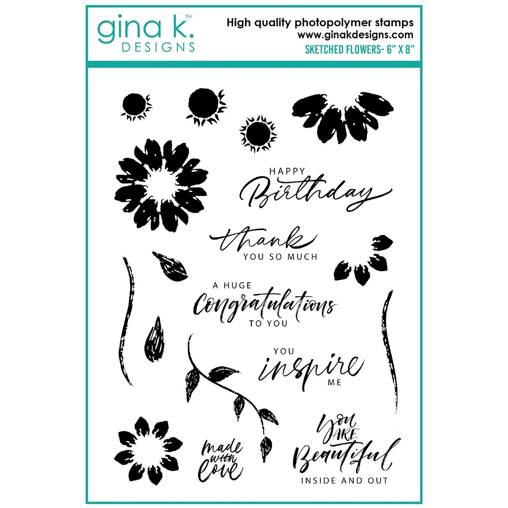 Gina K Designs SKETCHED FLOWERS Clear Stamps ak19 zoom image