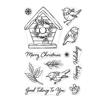 Hero Arts Clear Stamps CHRISTMAS ROBINS CM551