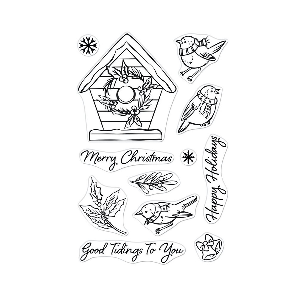 Hero Arts Clear Stamps CHRISTMAS ROBINS CM551 zoom image