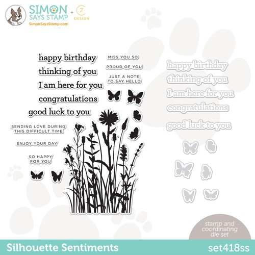 CZ Design Stamps and Dies SILHOUETTE SENTIMENTS set418ss Make Magic Preview Image