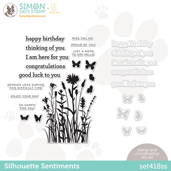 RESERVE CZ Design Stamps and Dies SILHOUETTE SENTIMENTS set418ss Make Magic
