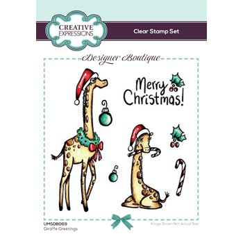 Creative Expressions GIRAFFE GREETINGS Clear Stamps umsdb069
