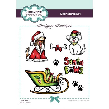 Creative Expressions SANTA PAWS Clear Stamps umsdb070