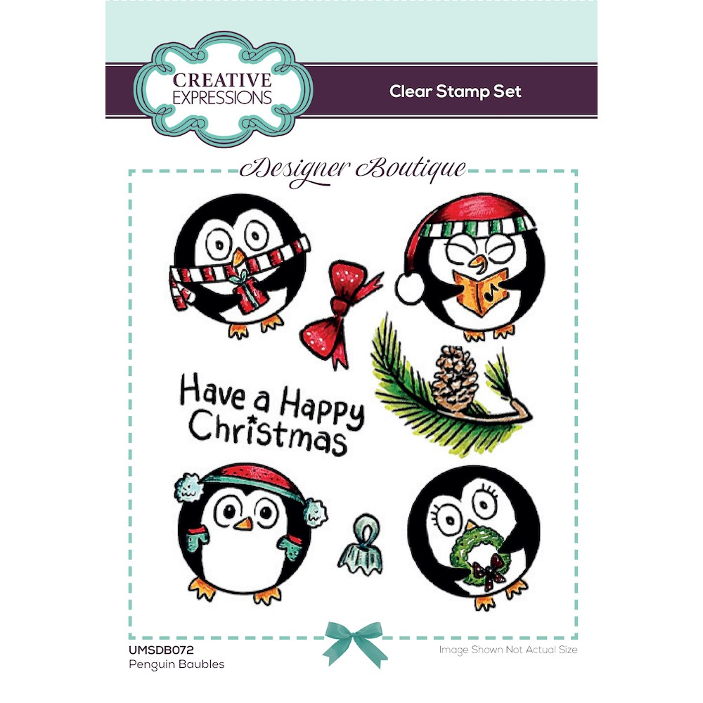 Creative Expressions PENGUIN BAUBLES Clear Stamps umsdb072 zoom image