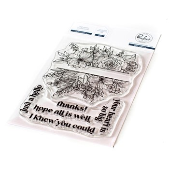 PinkFresh Studio JUST A HELLO FLORAL Clear Stamp Set 121421