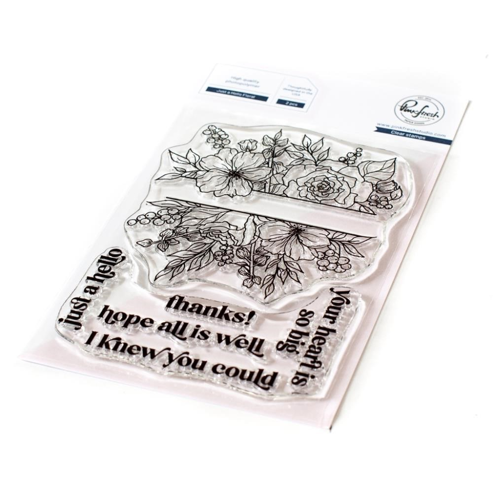 PinkFresh Studio JUST A HELLO FLORAL Clear Stamp Set 121421 zoom image