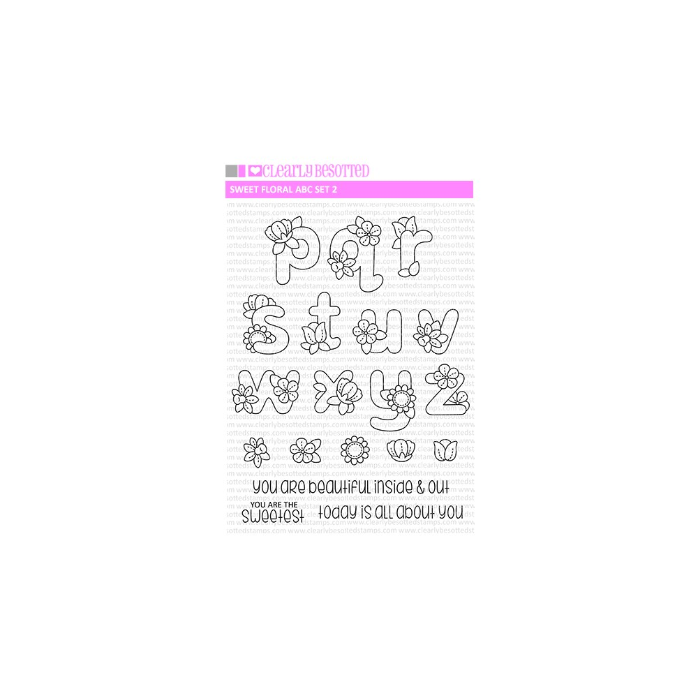 Clearly Besotted SWEET FLORALS ABC SET 2 Clear Stamps zoom image