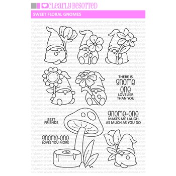 Clearly Besotted SWEET FLORAL GNOMES Clear Stamps