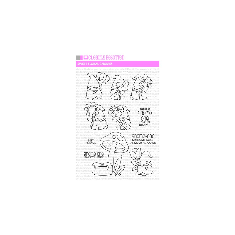 Clearly Besotted SWEET FLORAL GNOMES Clear Stamps zoom image