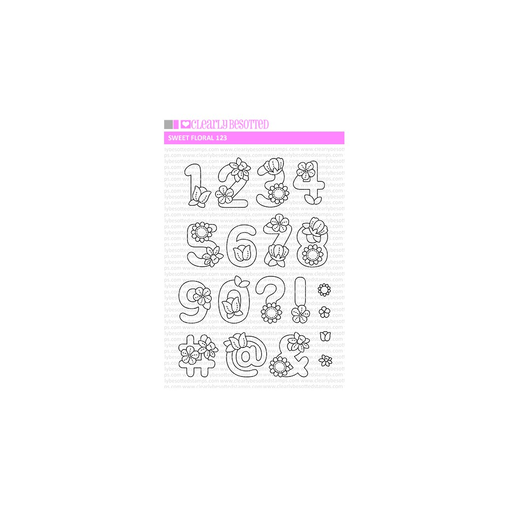 Clearly Besotted SWEET FLORAL 123 Clear Stamps zoom image
