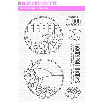 Clearly Besotted SWEET FLORAL SCENES 2 Clear Stamps