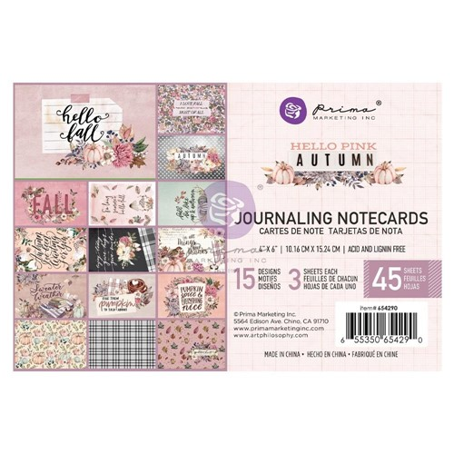 Prima Marketing HELLO PINK AUTUMN 4 X 6 Journaling Cards 654290 Preview Image