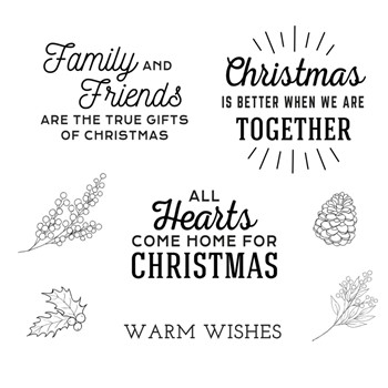 STP-062 Spellbinders HOME FOR CHRISTMAS SENTIMENTS Clear Stamps