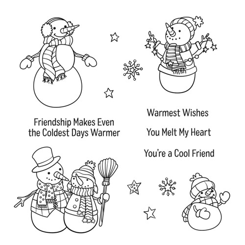 STP-052 Spellbinders FRIENDLY SNOWMAN Clear Stamps Preview Image