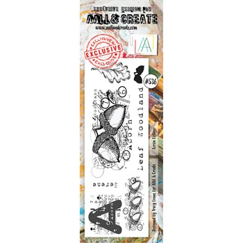 AALL & Create ACORN COLLAGE BORDER Clear Stamp aall536