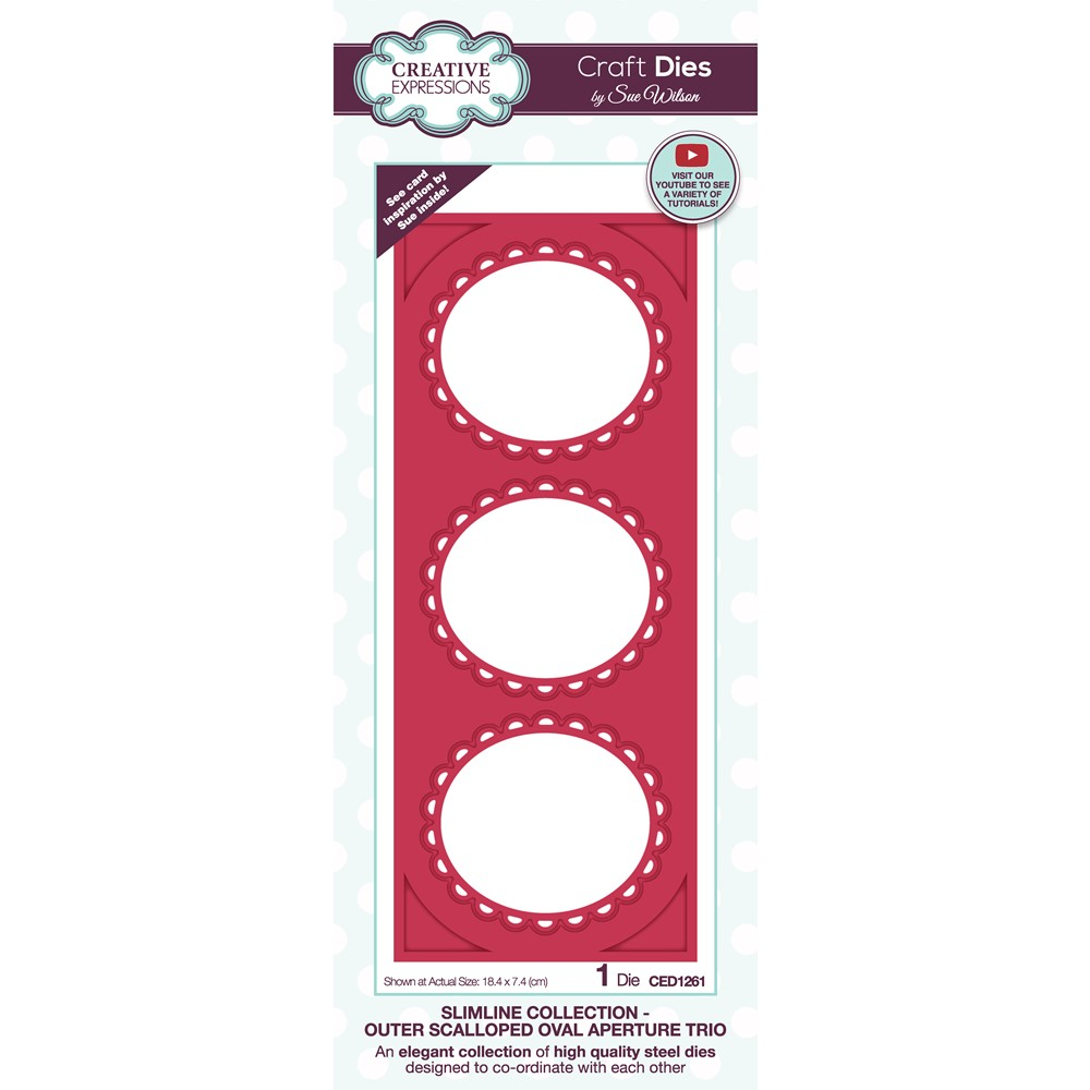 Creative Expressions OUTER SCALLOPED OVAL APERTURE TRIO Sue Wilson Slimline Die ced1261 zoom image