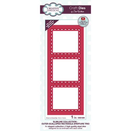 Creative Expressions OUTER SCALLOPED RECTANGLE APERTURE TRIO Sue Wilson Slimline Die ced1264 Preview Image