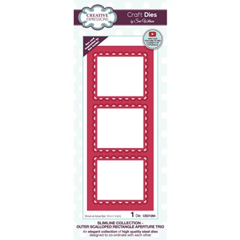 Creative Expressions OUTER SCALLOPED RECTANGLE APERTURE TRIO Sue Wilson Slimline Die ced1264