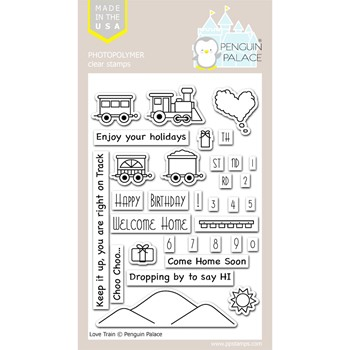 Penguin Palace LOVE TRAIN Clear Stamp Set ppc2002