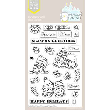 Penguin Palace CUDDLY SHEEP'S SEASON'S GREETINGS Clear Stamp Set ppc2011