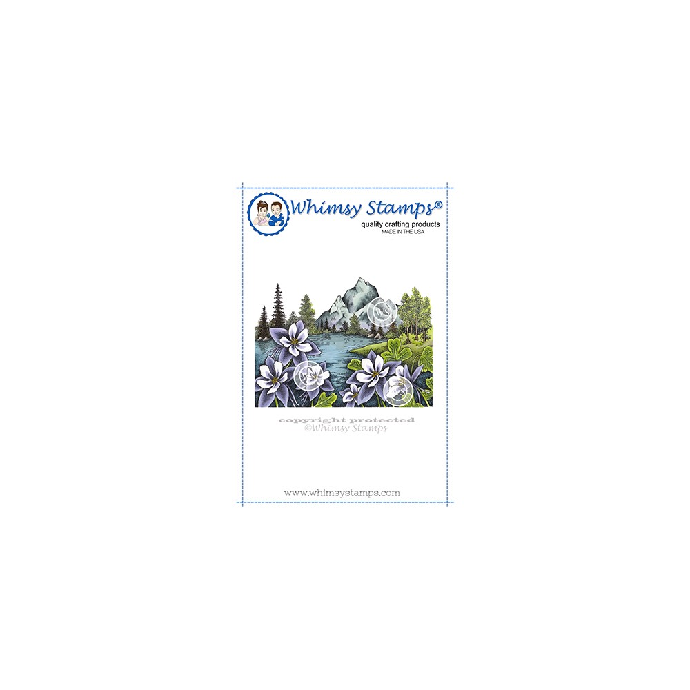 Whimsy Stamps MOUNTAIN COLUMBINE Cling Stamp DA1159 zoom image