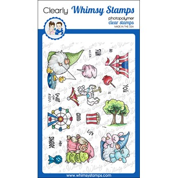 Whimsy Stamps GNOME FAIR FUN Clear Stamps C1160a